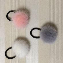 large 50mm real mink fur pompoms hair bands women girl furry huge hairwear Genuine mink fur  Hair Tails AccessoriesE102
