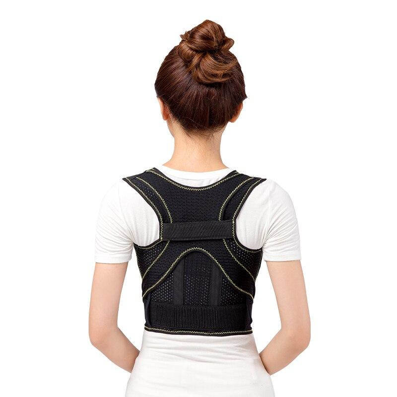breathable Unisex Black 3D Therapy Posture Straighter Adjustable BackCorrector Lumbar Brace Belt Support Shoulder Corrector Belt<br>