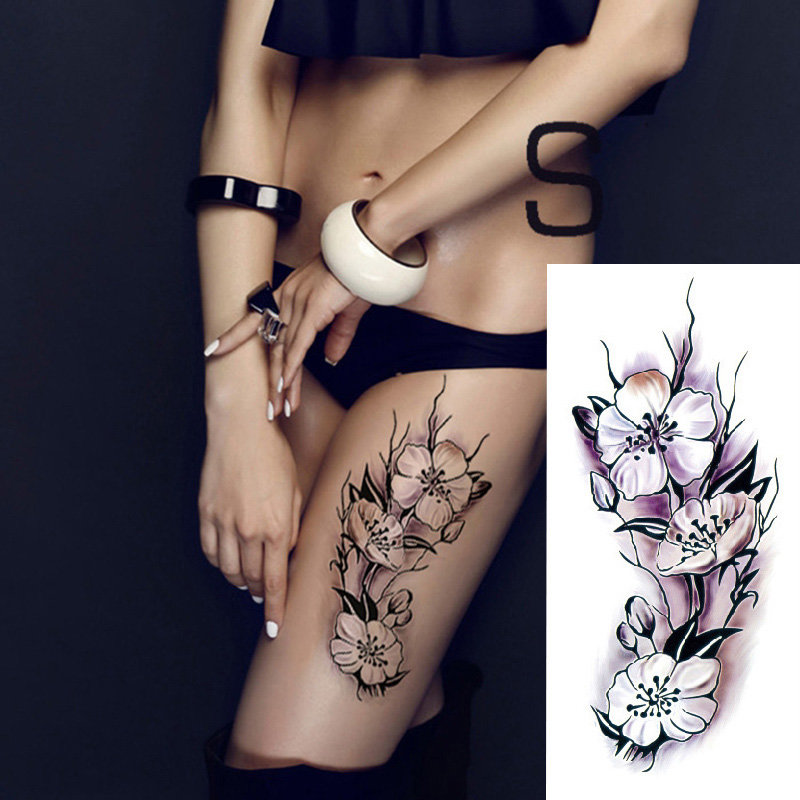 17 Waterproof temporary tattoos stickers sexy romantic dark rose flowers flash fenna tattoos fake body art Tattoo sleeve 10