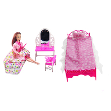 1 Pcs = 3 Items Doll Furniture Doll Bed+Dressing Table+Sofa Doll Accessories For Barbie Dolls Girl Gift Kid Play House Toys(China)