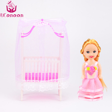 UCanaan 2PCS Kids Toys Baby Crib for Barbie Girls Doll Furniture Kelly Doll Cute Baby Doll Accessories Best Gifts for Children