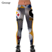 Grooqr Black Football Paper Cut Printed Yoga Leggings Women Workout Elastic Running Gym Fitness Pants Sexy Sport Tigths