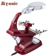 Myonie Helping Hand Soldering Stand With LED Light Glas Clip Magnifier U70227