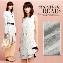 LEO&LIN Heavy Reliefs Silver Double Jacquard Linen Brocade Brocade Dress Coat Dress Skirt Fabric
