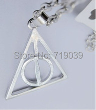 30pcs/lot Wholesale Fashion Jewelry Silver Charm HP DEATHLY HALLOWS LOGO METAL NECKLACE,original factory supply(China)