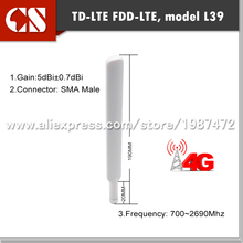Free Shipping 5dBi TD-LTE FDD-LTE 4G Antenna, 2*2 mimo router SMA Male 2pcs(China)