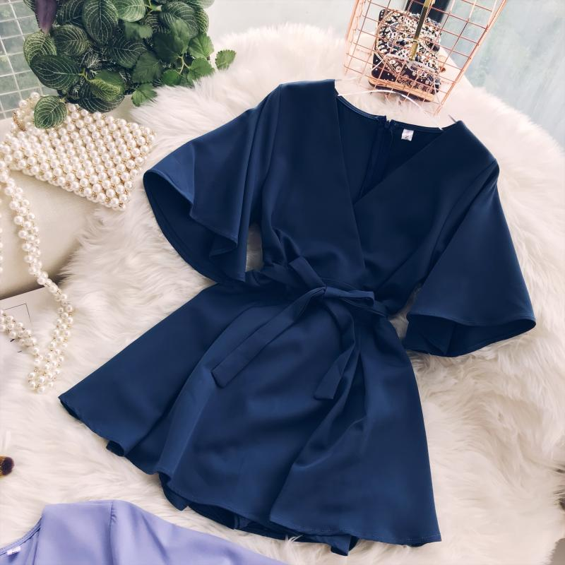 2018 Summer Jumpsuit Woman Pure Color Temperament V Collar Short Sleeve High Waist Slim Playsuits Ladies Playsuit 42