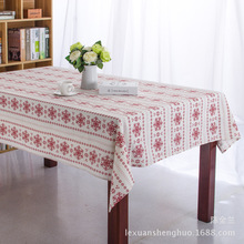 Christmas Red Snow Cotton Linen Tablecloths Christmas Decorations Printed for Restaurant Home Outdoor Hotel Party Table Cloth