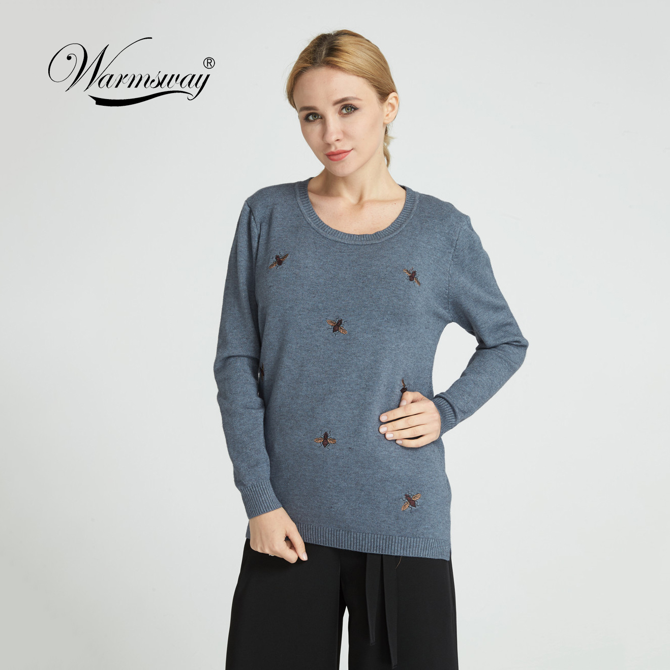 Warmsway 2018 Fall Winter Bee Embroidery Sweaters Plus Size 2XL Women Pullovers Oversized Knitted Tops female jumper C-153