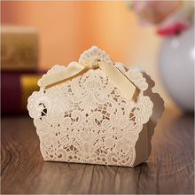 Ribbon Flower Wedding Favor Box 50pc/lot Gold Laser Cut Paper Bridal Shower Candy Boxes Casamento(China)