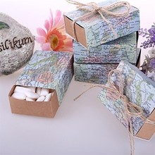 New Arriavl 100pcs world map Paper Favor Box Gift Box For Baby Shower candy box gift package Wedding Favors Supplies