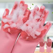 1 Pair Factory Price Household Silicone Dishwashing Gloves Kitchen Cleaning Gloves Washing Dishes Multifunctional Magic Glove(China)