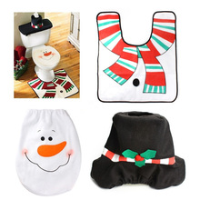 Christmas Snow Man Bath Mat Set Carpet Toilet Seat Cover Water Tank Cloth Ornaments Accessories Merry Xmas Family - Lele Store store