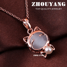 ZHOUYANG Top Quality ZYN123 Lovely Cat Rose Gold Color Fashion Pendant Jewelry Made with Austria Crystal Wholesale(China)