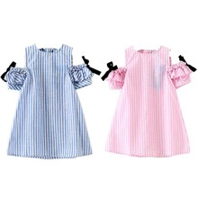 2017 Cute Baby Girls Cute Striped Clothing Summer Princess Children's Clothes Costume For kids Little Girl Bow Dresses