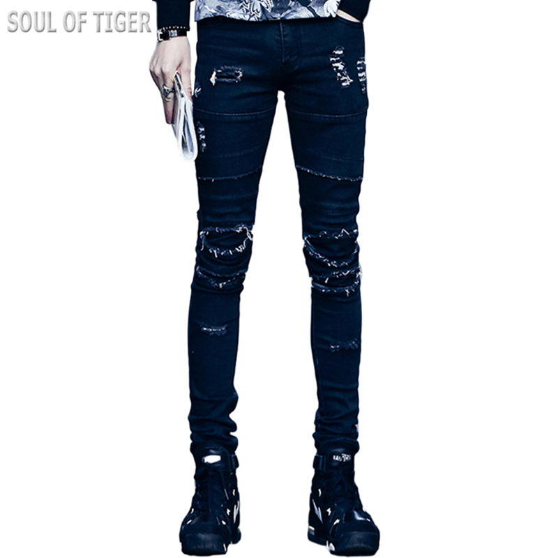 Punk Style 2017 New Spring Distressed Men skinny Jeans High Quality Cotton Man Ripped Jean Homme Fashion Black Trousers Slim FitОдежда и ак�е��уары<br><br><br>Aliexpress