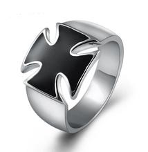 VECUTE White Gold Color Classic Black Enamel Cross Ring For Men Name Brand Jewelry Vintage Men Jewelry Oil Drop Male Ring