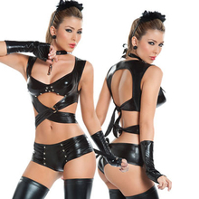 Buy Cosplay Sexy Women PU Faux Leather High Cut Bodysuit Thong Bandage Shiny Erotic Leotard Costumes Latex Bodysuit 1 set FX35