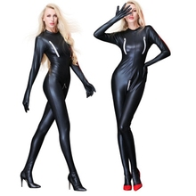 Buy Latex Catsuit Faux Leather Women Jumpsuits Black wetlook PVC Bodysuit Sexy Bodycon Erotic Lingerie Open Crotch Costume clubwear