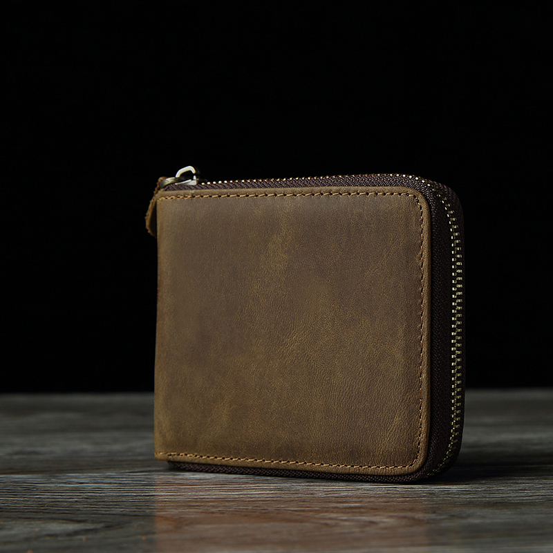 NEWEEKEN 9039 Vintage Genuine Leather Cowhide Crazy Horse Zipper Short Slight Cash Money Card Photo Wallet Purse for Man<br><br>Aliexpress