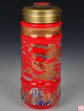 New Design Chinese Classic Porcelain red dragon patten Thermos Health Care Cup