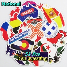 Mix 51 PCS National Flags & Map Airline Logo Travel Stickers for Laptop Bag Handbag Toy Doodle Sticker Creative Decal Not Repeat