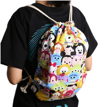 Animation Peripheral Products Tsum Printed Canvas Bucket Bag Large Tote Bag Baggage Casual Everyday(China)