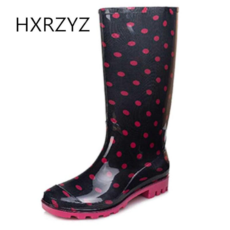 HXRZYZ women rain boots female knee high rubber boots spring/autumn fashion PVC printing waterproof Slip-Resistant shoes women<br>