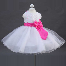 New 2017 Summer Flower Girls Rose Bow Party Princess Dress 2-9 Years Baby Kids Children Formal Costume Dresses Gril Clothes 920D