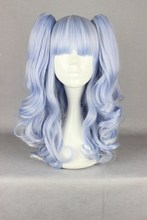 MCOSER Hot Sale Wig Set 70 cm Long curly  light Blue Cosplay Wig Anime Hair + Two Clips On Ponytail  +free Track no WIG-437A