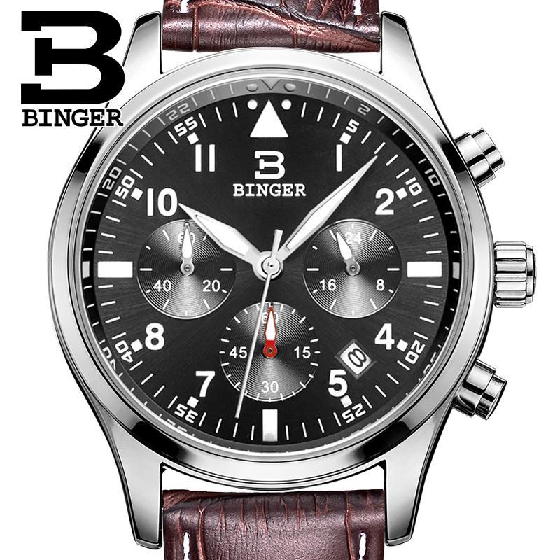 Switzerland BINGER mens watches luxury brand Quartz waterproof leather strap clock Chronograph Stop Watch Wristwatches B9202-9<br>