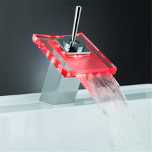 Retail- Brass Color Change Glass LED Faucet , Light Color will change according to water Temperature(China)