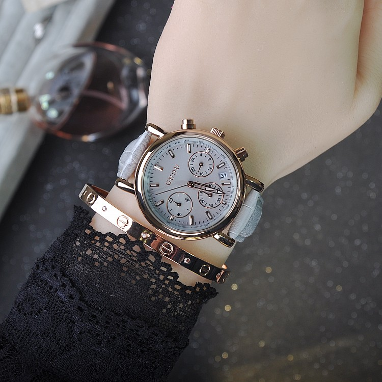 Luxury Hot Fashion Women Leather Analog Quartz Watches Ladies 6 Pins Calender Wristwatch Relogio Feminino Relojes Mujer OP001<br><br>Aliexpress