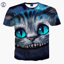 2017 Brand Famous Summer New Men/Women 3D Printing Animal Cheshire Cat T-shirt Top Level Luxurious Tops Apparel Tees Size S-XXL(China)