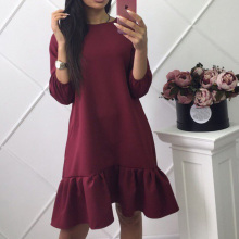 Buy Fall Dresses New Arrival 2017 Womens Three Quarter Sleeve Casual Dress Autumn Ruffle Loose Mini Dresses Plus Size for $4.99 in AliExpress store