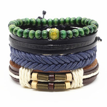 4pcs/set Handmade Fashion Trendy Vintage Female Femme Homme Male Punk Wood Bead Charm Men Leather Bracelet For Women Jewelry(China)