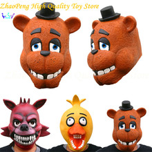 Five Nights At Freddy's Action Figures Chica Foxy Fazbear Cosplay Full Latex Soft Mask Headgear Five Nights At Freddy kids toys