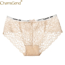 Buy Chamsgend Women Lace Transparent Underwear Sexy Panties Bowknot Briefs G String Thongs Lady Underwear Lingerie 80807