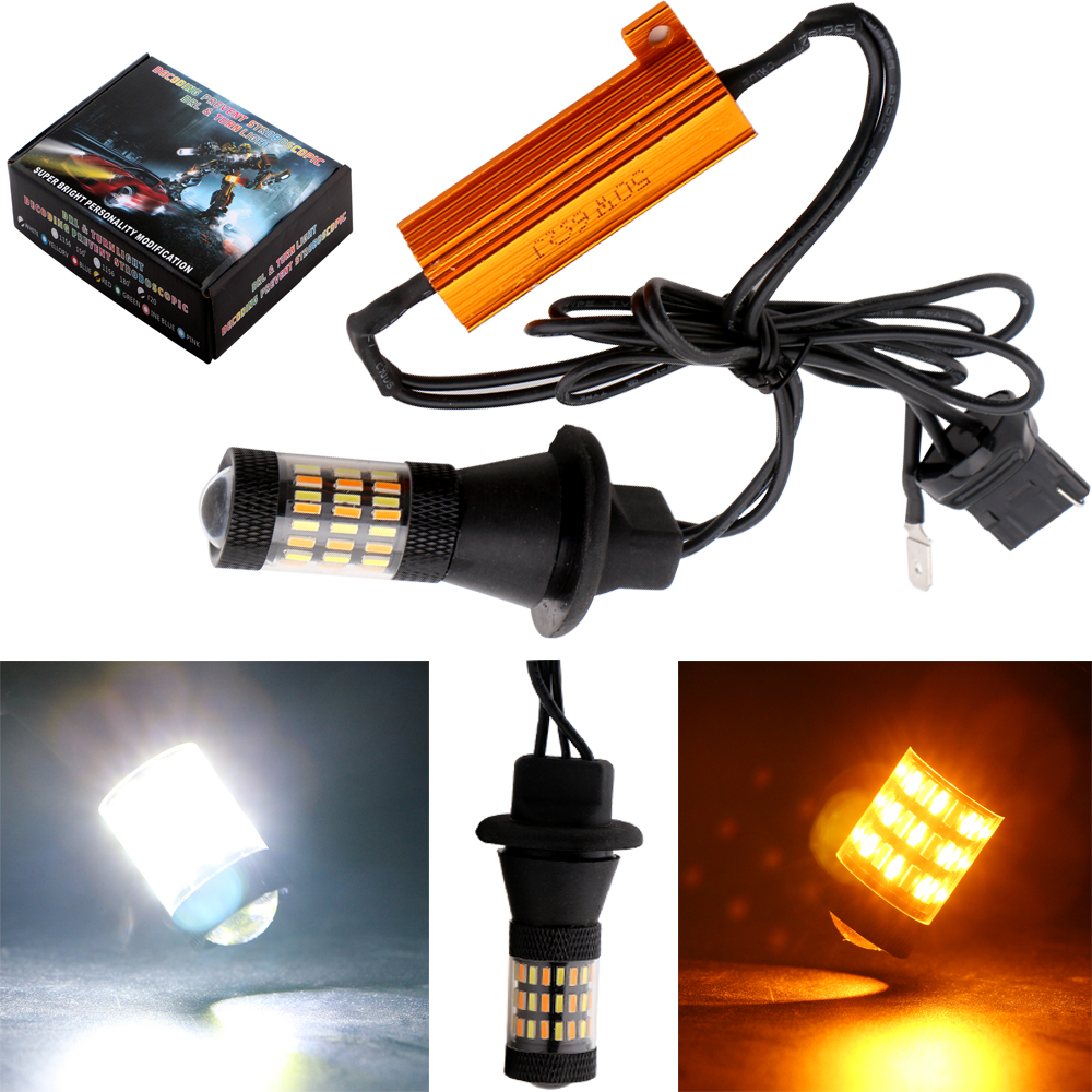 2017 Newest!! 2xWhite/Amber 1156 bau15s/ba15s 3156 7440 Canbus Free Error Turn Signal light DRL 4014 60SMD Signal Reverse Lights<br><br>Aliexpress