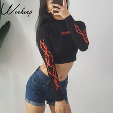 Weekeep Fashion Long Sleeve Gothic Letter Print Cropped t shirt 2017 Autumn Black Stand Collar Streetwear Crop Top tshirt Tops(China)