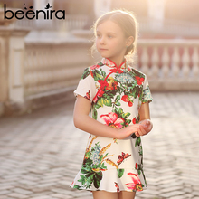 Beenira 2017 New Brand European And American Style Children Cheongsam Sleeveless Printed Princess Dress For 4-14Y Girls Dresses(China)
