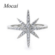 Europe Fashion Star Ring Famous Brand Zircon Big David Stars Silver Color Micro Insert Crystal Rings For Lady ZK20(China)