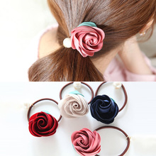 Fashion Korea Rose Flower Pearl Hair Bands Elastic Rubber Ponytail Holder For Women Girl Rope String Scrunchie Hair Accessories
