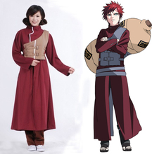 Anime Naruto Shippuden Sabaku no Gaara Red Uniform Cosplay Costume Full Set ( Robe + Pants + Waistcoat + Straps )