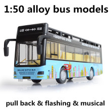 1:50 alloy bus models,high simulation double open air bus,toy vehicles,metal diecasts,pull back&flashing& musical,free shipping