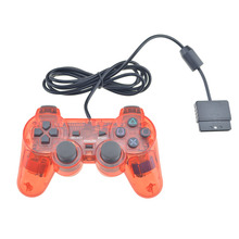 Transparent Color Wired For PS2 Controller Dual Vibration Joystick Gamepad Joypad Through Color For Playstation 2 Controller