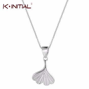 Kinitial 925 Sterling Silver Ginkgo Leaf Necklace Pendant women Fashion Jewelry Necklaces & Pendants Wholesale