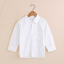Простые белые рубашки для маленьких мальчиков детская Одежда Классическая рубашка для мальчиков, детские футболки хлопковый джемпер для д...