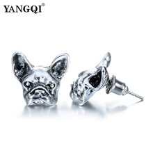 Punk Antique Silver Plated Earrings Animal Unisex Dog Stud Earrings Black Bulldog Earrings 2017 Hot Sale Jewelry(China)