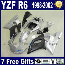 Custom Road fairing for YAMAHA 1998 YZF R6 1999 2000 2001 2002 silver black  YZFR6 98 99 00 01 02 YZF600 bodywork Fairings kit